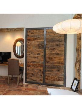 porte placard métal et bois hêtre