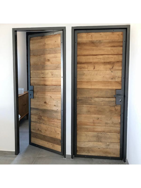 porte metal bois hêtre ancien