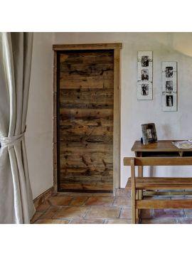 panneau galandage métal et bois hêtre ancien