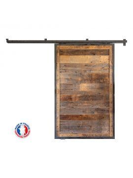 porte coulissante métal bois hêtre ancien